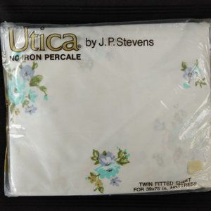 Utica Vtg Sheet Twin Fit Canterbury Made USA NOS